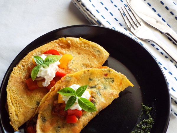 chickpea crepes with italian vegetables high protein
