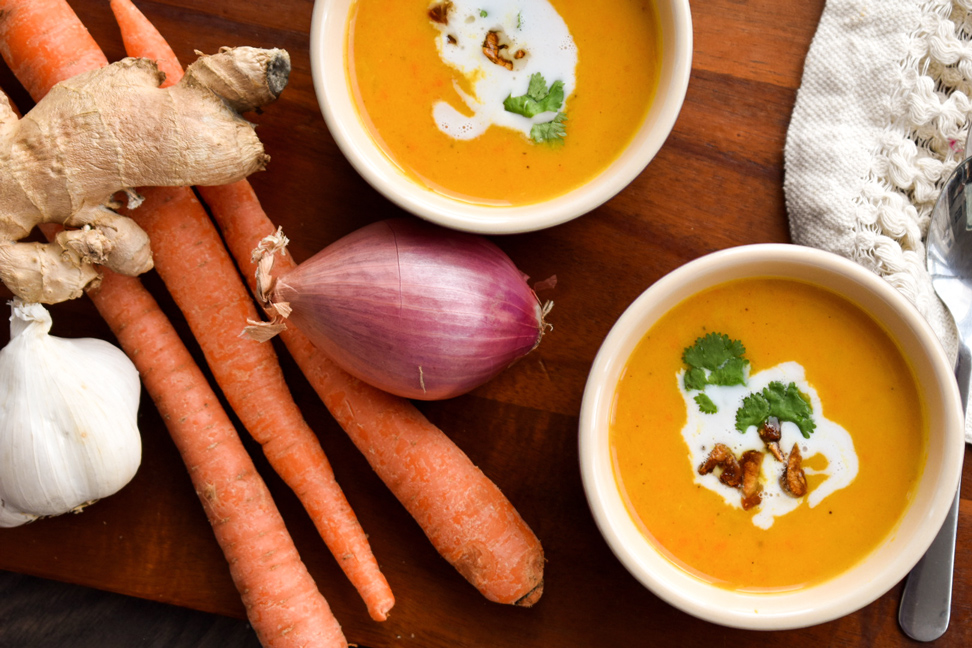 Curry Spiced Squash and Carrot Soup + Toasted Garlic