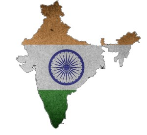 India map with colors of the flag