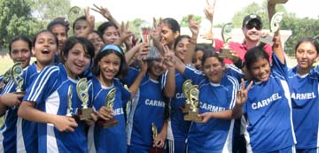 TheCarmel Convent team which won the Chandigarh Sub-Junior Girls Football Championship for Dr Kamesh Bhargava Memorial Trophy on Saturday. They beat St Stephen's School by 2-0 in the final.