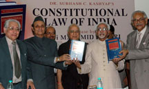 """The Vice President, Shri Mohd. Hamid Ansari releasing the book titled """"Constitutional Law of India"""", written by Dr. Subhash C. Kashyap, in New Delhi on July 14, 2008."""