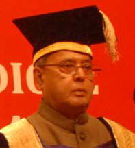 External Affairs Minister Pranab Mukherjee at 29th annual convocation of Post Graduate Institute of Medical Education and Research (PGIMER) in Chandigarh.Photo by Ankur Vadehra