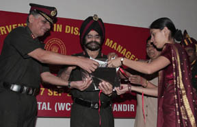 Maj Gen Charanjeet Singh, MG, Medical HQ WC, ( center) releasing souvenir on the occasion of CNE inauguration at Chandimandir on Thursday