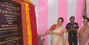 Smt. Bulbul Ghosh, CGDA unveiling the foundation stone of DAD building at Pathankot on Monday