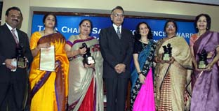 Tara Chand Saboo Excellence Award winners along with Mr. Shivraj V. Patil, Chandigarh- L to R Mr. Mushtaq Ahmed, Ms.Vidya Kurekar, Ms. Madhu Bahl, Ms. Anuradha Saboo, Ms. Astinder Kaur, Ms. Kandy Khanna - Photo By: Barinder Saluja