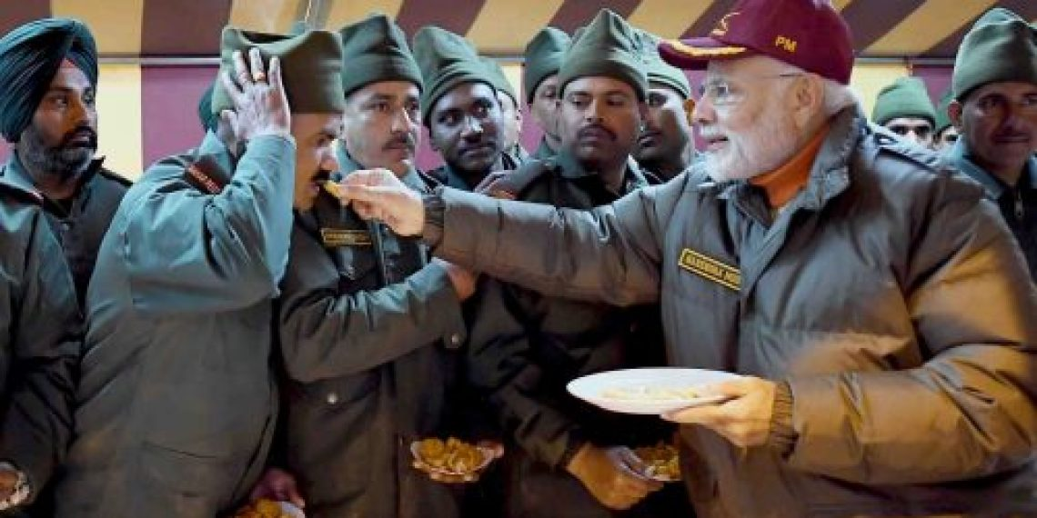 The Prime Minister, Shri Narendra Modi celebrating Diwali with the jawans of the Indian Army and ITBP, at Harsil, in Uttarakhand on November 07, 2018.