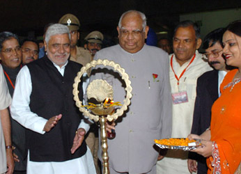 The Speaker, Lok Sabha, Shri Somnath Chatterjee inaugurating the Exhibition on Indian Parliamentary Democracy – A Journey Forward, in Chandigarh on September 21, 2008. The Speaker Haryana Vidhan Sabha, Legislative Assembly, Dr. Raghuvir Singh Kadian is also seen.