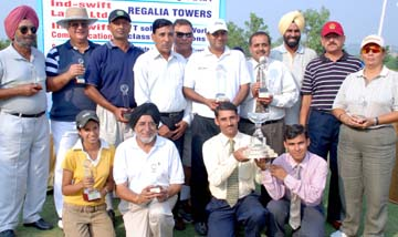 Winners of the irst one-day Col BS Kahlon Memorial Golf Championship in Panchkula on Monday.