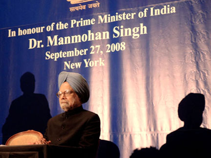 The Prime Minister, Dr. Manmohan Singh attends a reception hosted by the Ambassador of India to the United States of America, Shri Ronen Sen for Indian Community, in New York on September 27, 2008.