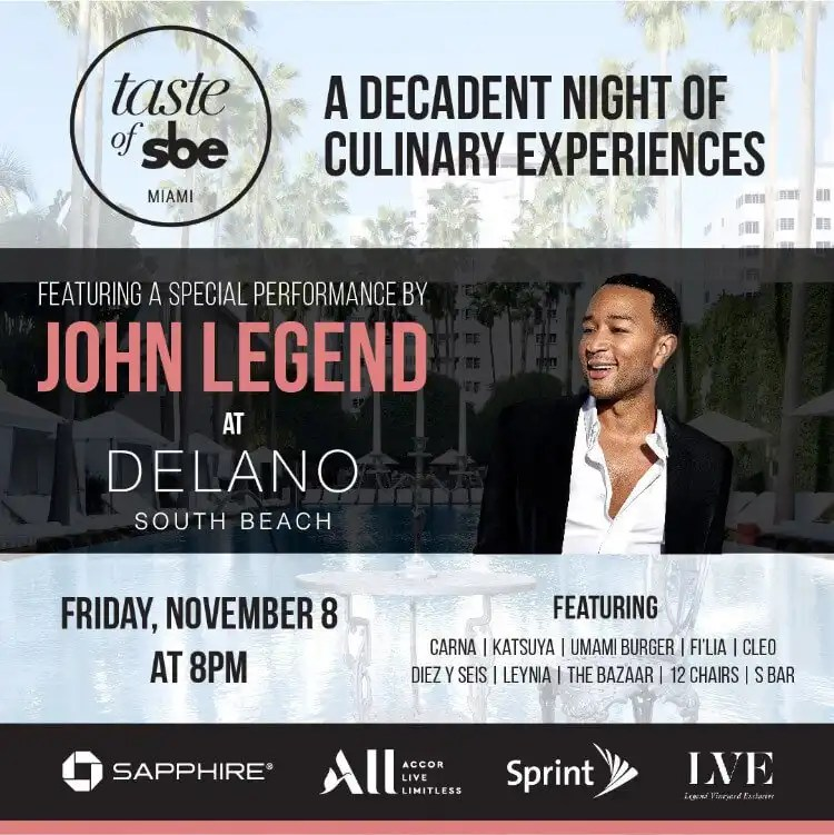 John Legend to Headline at Taste of sbe Miami