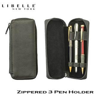 Libelle Leather Zippered 3 Pen Holder