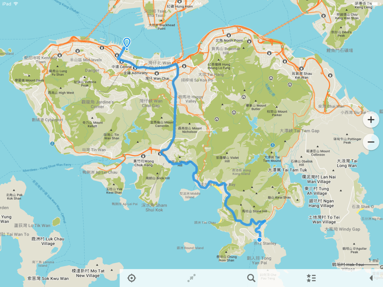 Hong Kong Island with Route to Stanley Market
