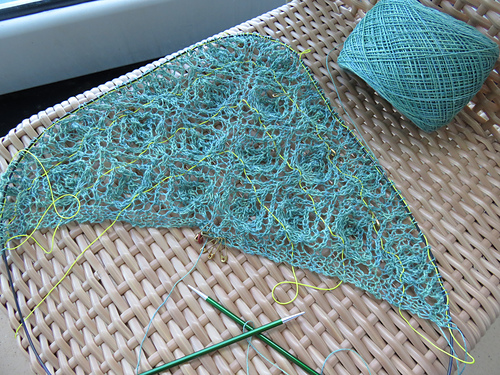 The beginning of the shawl was easy