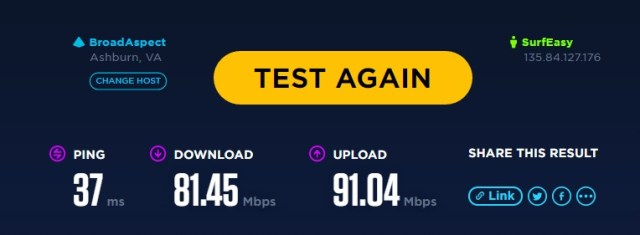 Opera Browser VPN SpeedTest