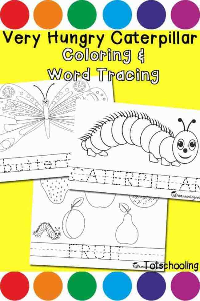 Very Hungry Caterpillar Coloring Word Tracing