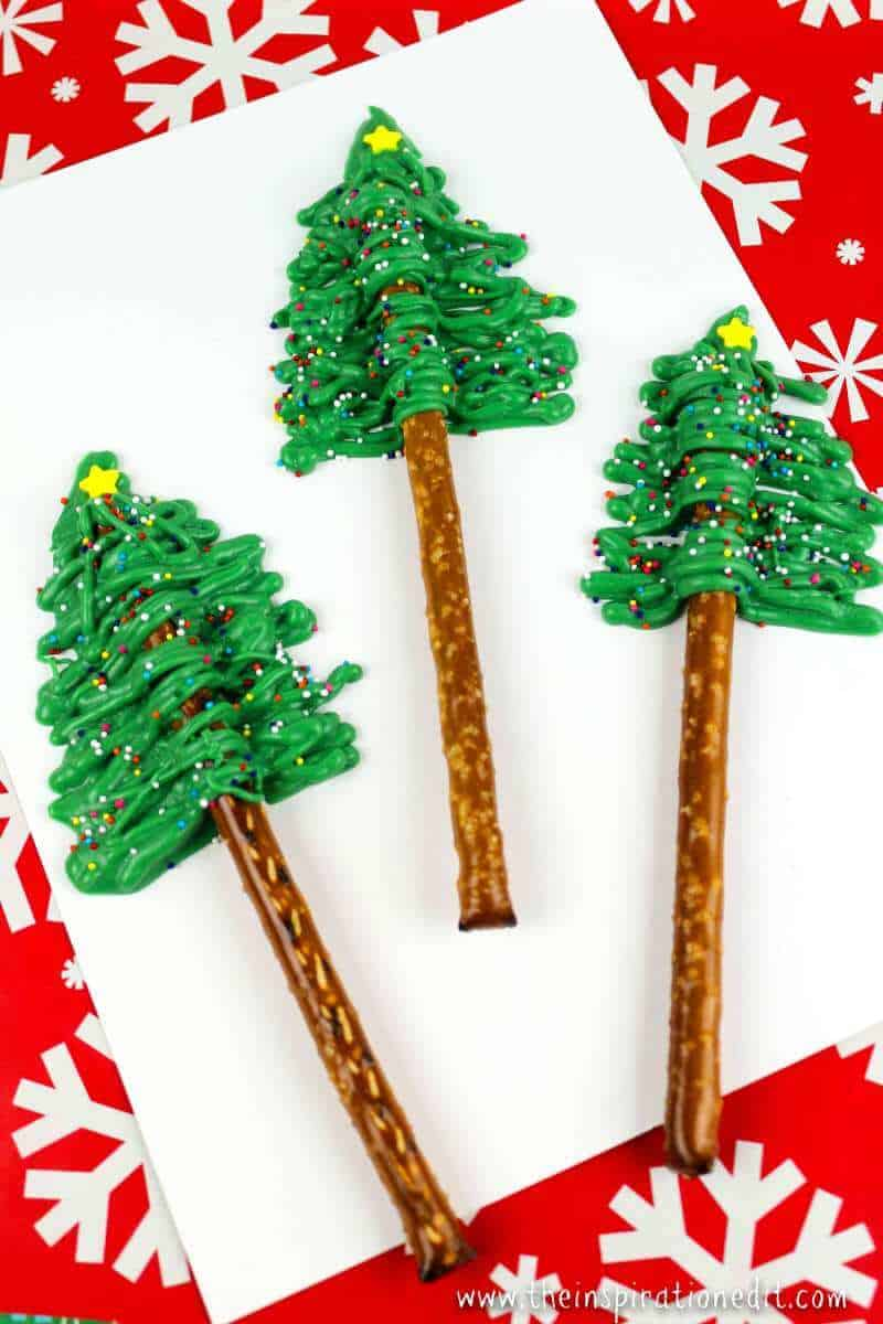 Christmas Tree Pretzel rodsChristmas Tree Pretzel rods