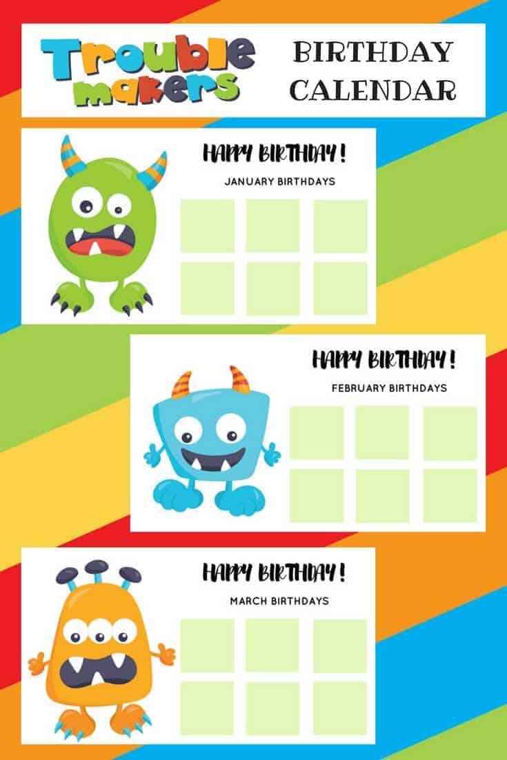 monster birthday calendar