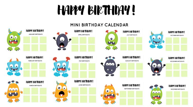 Kids Birthday Calendar : Free monster birthday calendar for kids · the inspiration edit