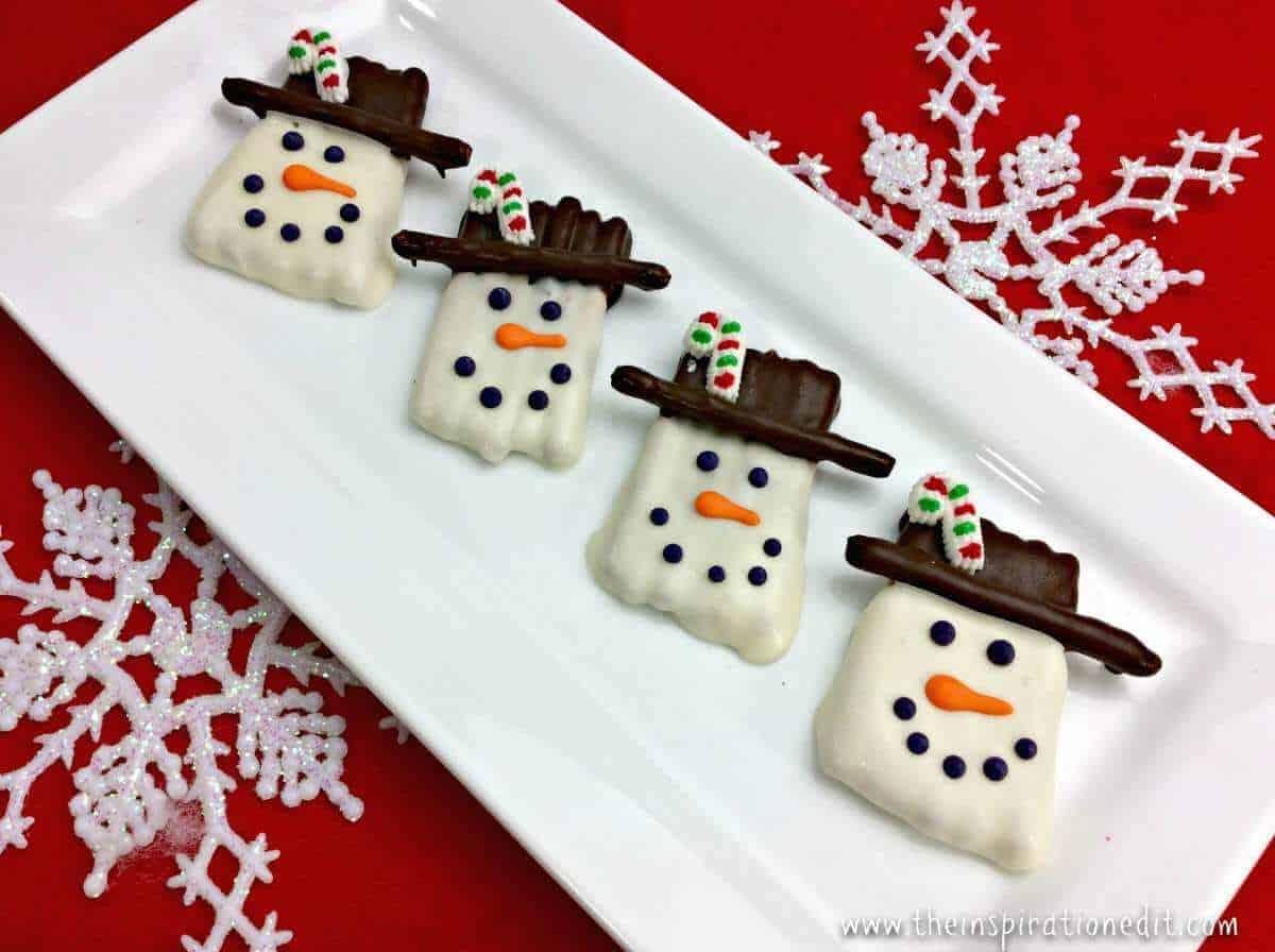 snowman Christmas pretzels