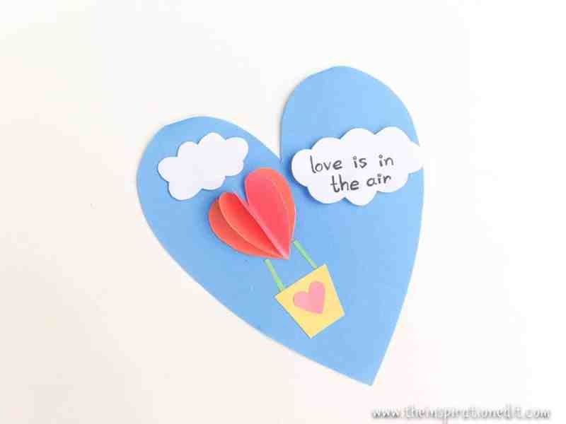 valentines card heart air balloon