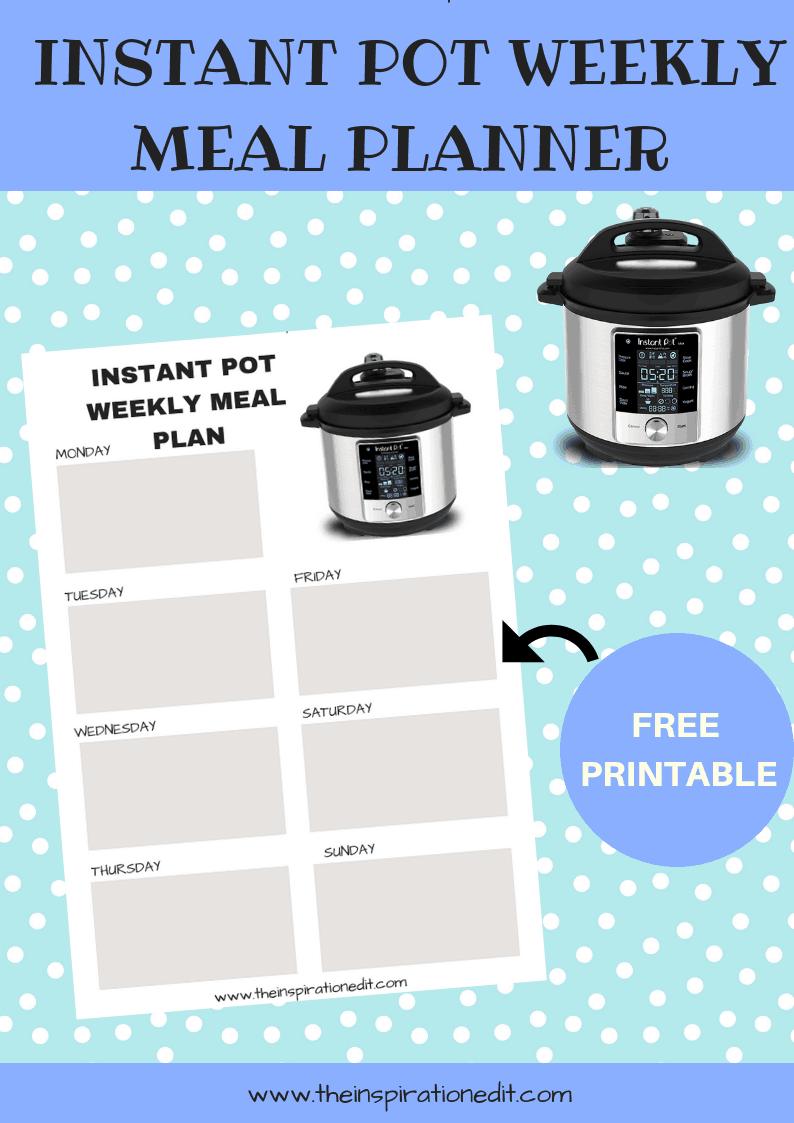 instant pot menu planner free printable