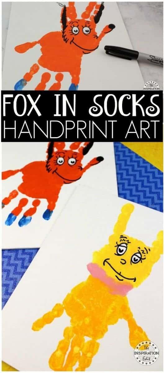 Fox in socks handprint art