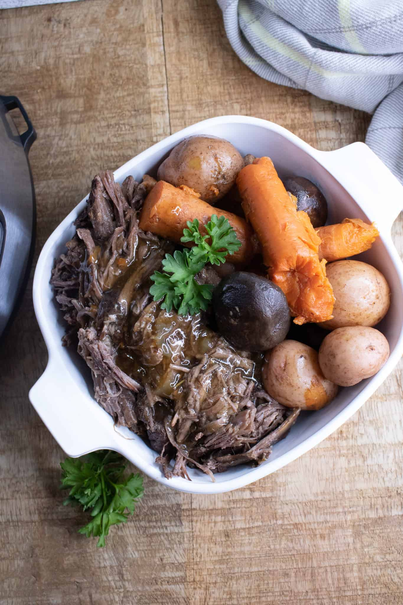 An easy instant pot pot roast is sure to please the family.