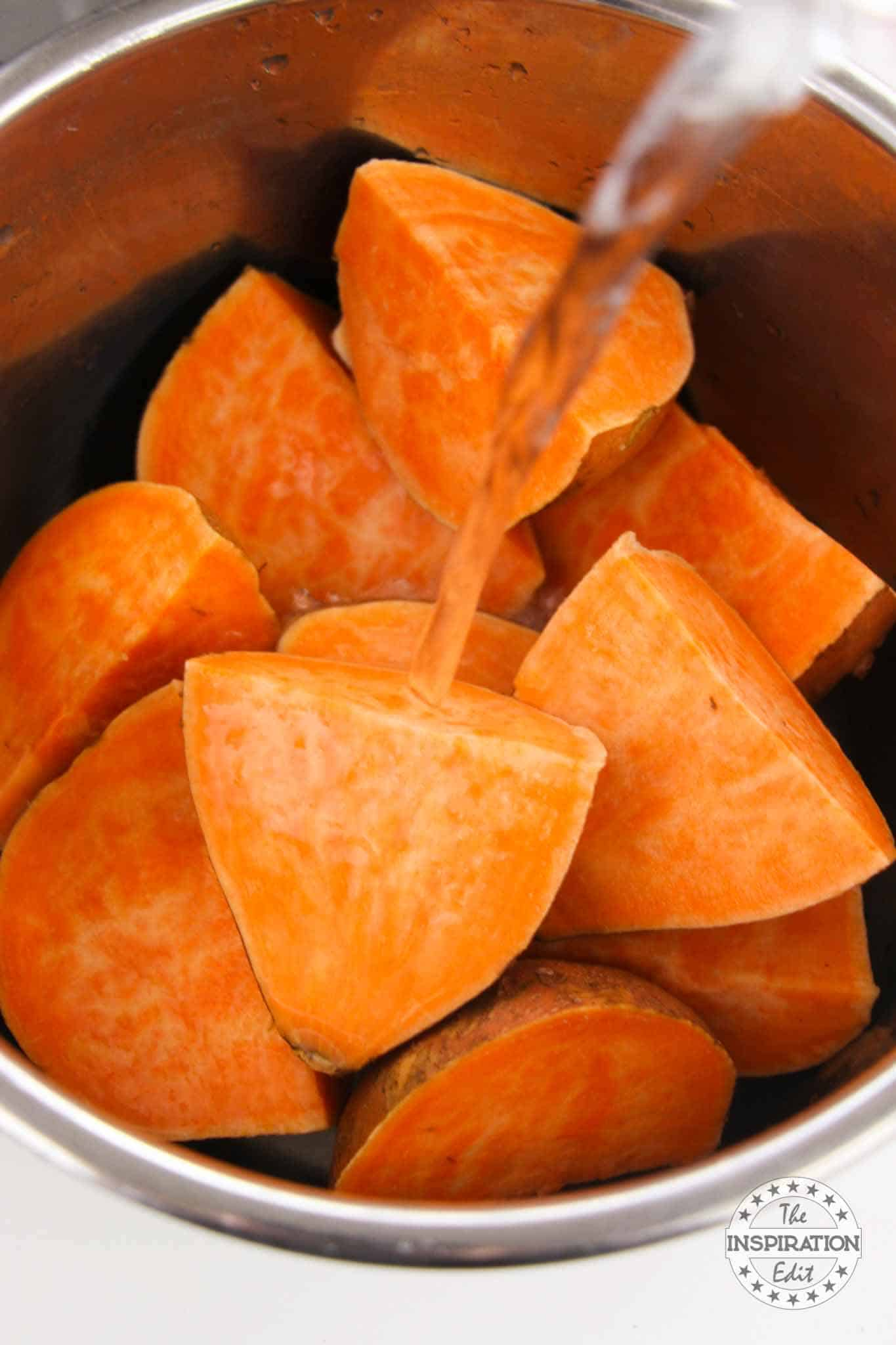 cooking kumara in the instant pot to make sweet potato caserole