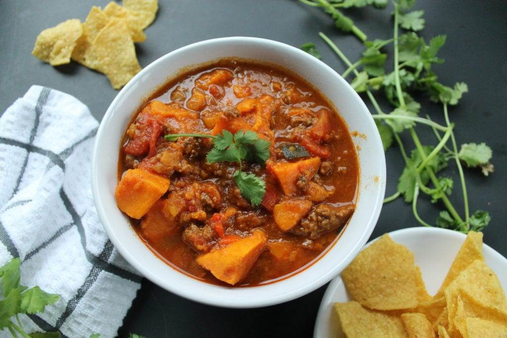 Instant Pot Sweet Potato Pumpkin Chili Whole30 Paleo