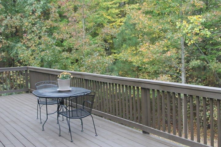 Back deck refinished with dark brown deck paint