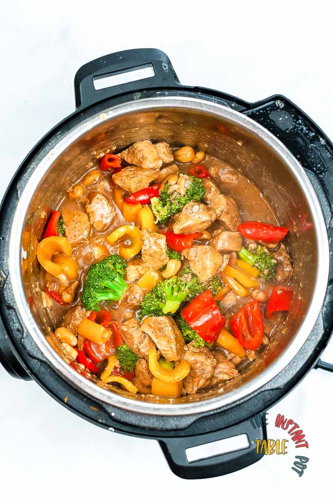 Instant Pot Cashew Chicken cashew Nuts and Liquid