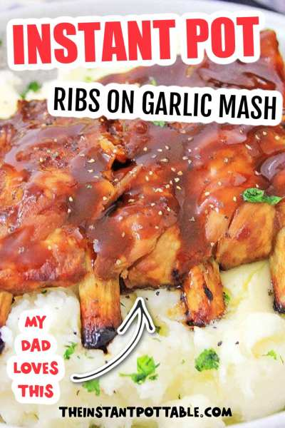 instant pot ribs on garlic mash