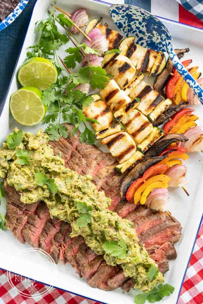 Instant-Pot-Flank-Steak-with-Grilled-Guacamole-and-Hallumi-Kebobs