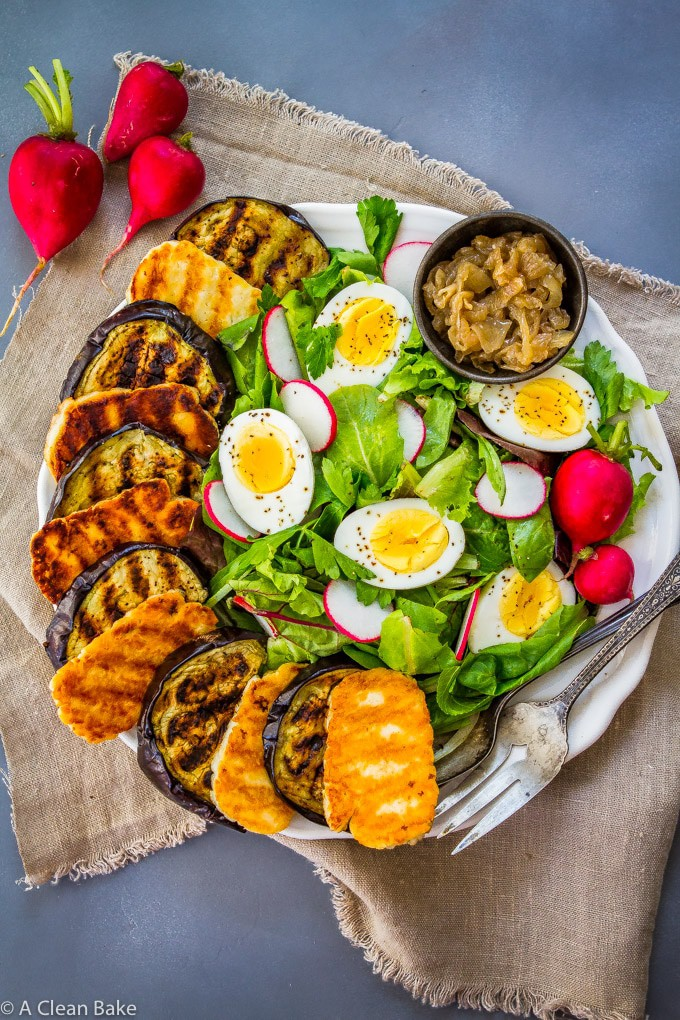 Instant-Pot-Grilled-Eggplant-Salad-with-Halloumi-and-Pesto-Dressing