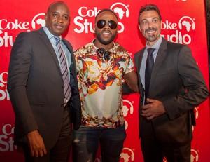 (L-R) NMG Managing Editor Linus Kaikai, Iyanya and Coca-Cola CEWA Marketing Director Ahmed Rady