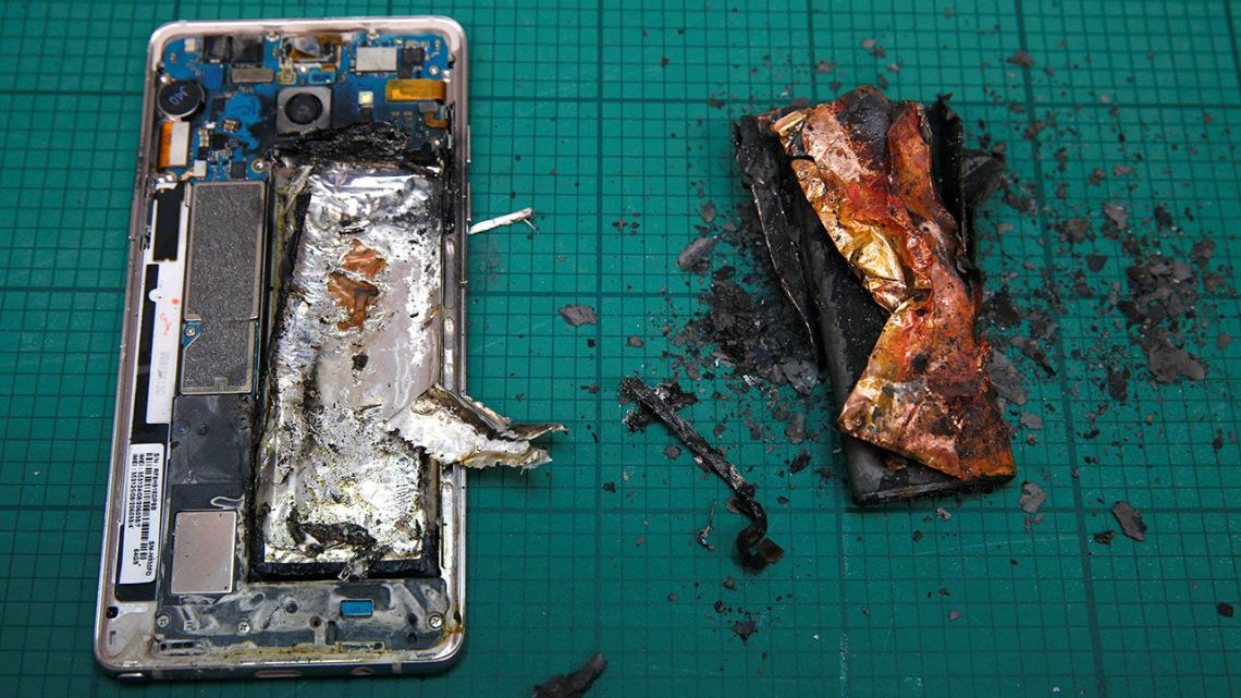 Exploded-phone Inbuilt fire-extinguisher phone batteries are here