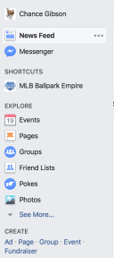 Facebook's left navigation bar as of 19 March 2017. It is black text on a light blue background, with black headers. The selected item has an even lighter blue background with black text.