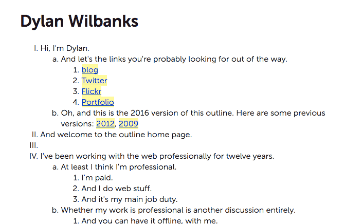 A screenshot of the website of Dylan Wilbanks
