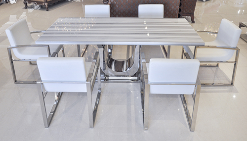 Uscio IV Marble Dining Table 79 White Lines