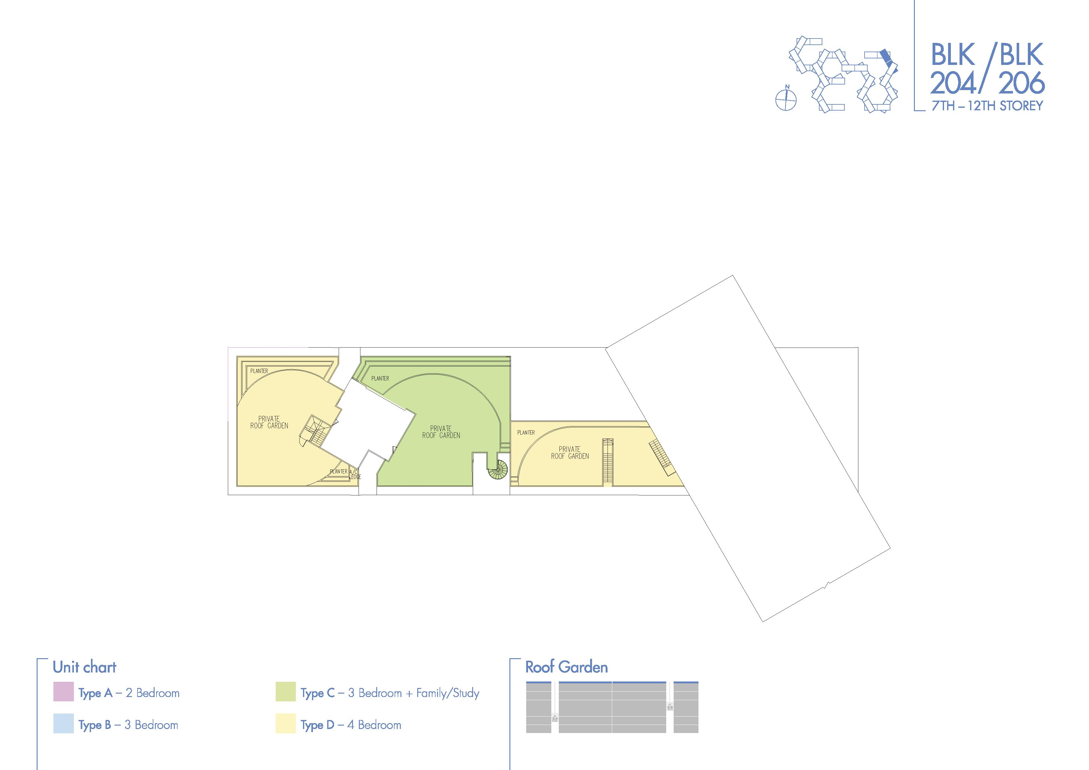 Super Level 2 Block 204/206 Roof Garden Floor Plans