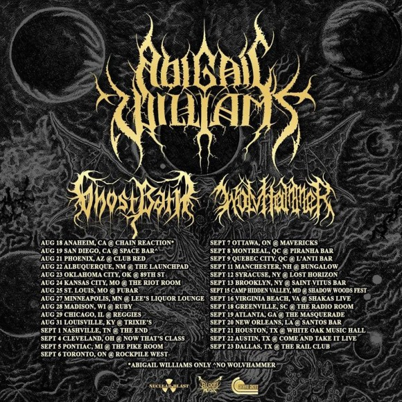 ABIGAIL WILLIAMS to tour N. America with GHOST BATH and WOLVHAMMER