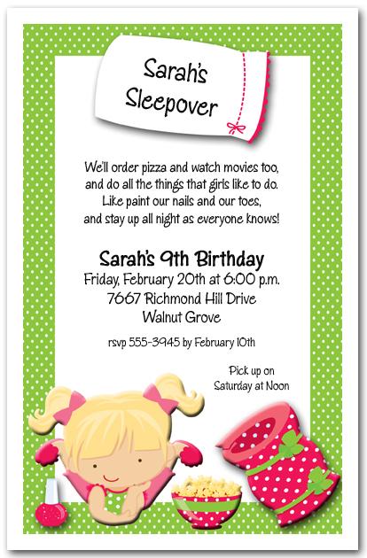 sleepover party invitations kids