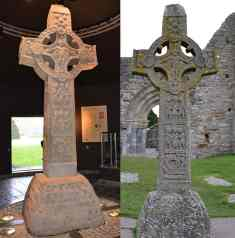 Celtic High Cross of Scriptures at Clonmacnoise - on the left is the original, on the right is the replica in its original location. - The Irish Place