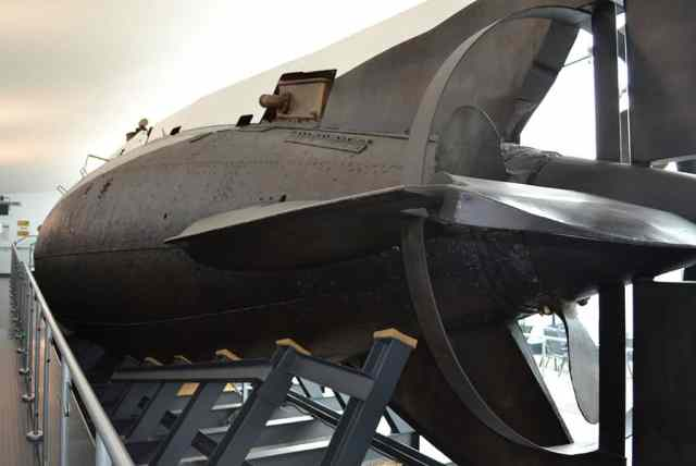 A view of the Holland 1 in the Royal Navy Submarine Museum in Gosport from the Stern - The Irish Place