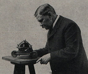 Louis Brennan with a model of one of his inventions - The Irish Place