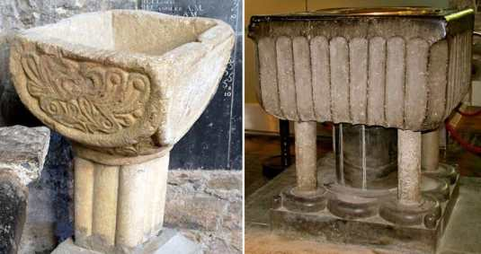 12th/13th century Baptismal Fonts - the left hand side one is from Inchiologhan Church (also known as Inchiholohan), the font on the right is known as the Ossory Font and was broken by Cromwell's soldiers after their horses had finished drinking from it. - The Irish Place