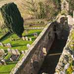 View from the top of the Bell Tower over the remains of Kilfane Church - The Irish Place