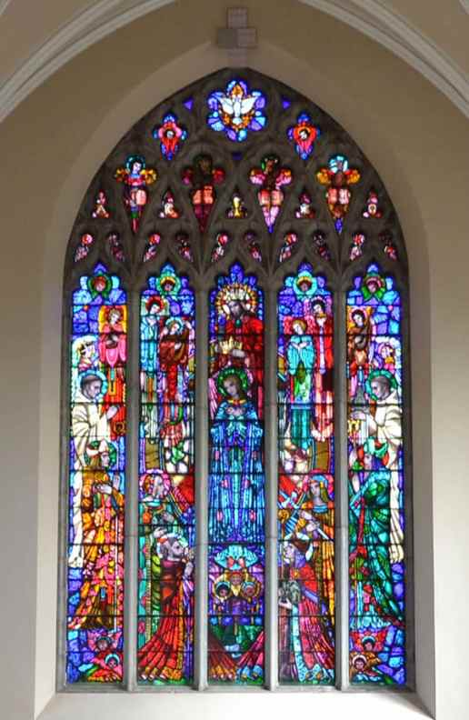 The magnificent stained-glass window in the Abbey depicting Heaven, the goal of Christian and monastic life. Also depicted are figures of Christian and monastic traditions to which the monks of Mount Melleray are heirs - The Irish Place