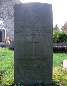 The Commonwealth War Graves Commission Memorial to Private R.W. Williams in Bunratty Graveyard.