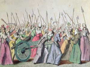 A contemporary depiction of the 'the mob' during the French Revolution.